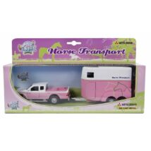 Rózsaszín platós autó lószállítóval
