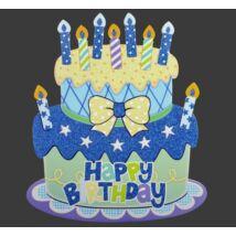 Happy Birthday Tortás Dekoráció: Kék