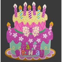 Happy Birthday Tortás Dekoráció: Rózsaszín