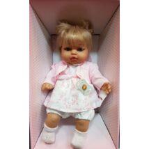 Rauber szőke síró baba virágos ruhában