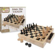 Fa 3 az 1-ben Játékkészlet: Sakk, Malom és Dáma