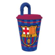 Barcelona Mintájú Szívószálas Műanyag Pohár