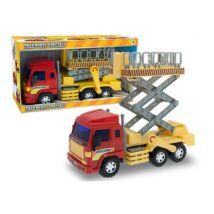 Emelőkosaras teherautó