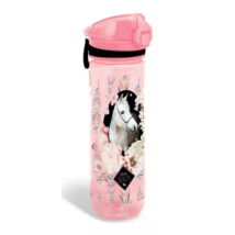 Rózsaszín Lovas Műanyag Kulacs 600 ml-es