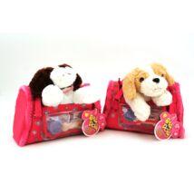 Plüss kutya hordozó táskában,többféle